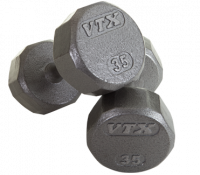 Image of 12 Sided Solid Gray Dumbbells 5-50 lbs