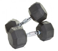 Image of 8 Sided Rubber Encased Dumbbells - 50-100 lbs